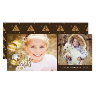 Merry and Bright, Gold & Brown, Two Photos Card