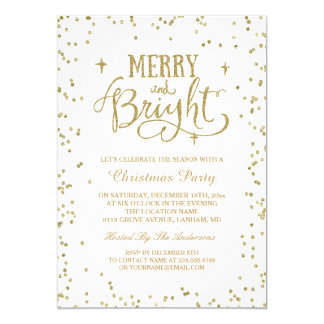 Merry and Bright Gold Glitter Dots Christmas Party Card