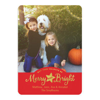 Merry and Bright Gold Stars Holiday Photo Card 13 Cm X 18 Cm Invitation Card