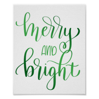 Merry and bright- green foil effect poster