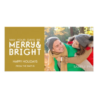 MERRY AND BRIGHT HAPPY HOLIDAYS PHOTO CARD GOLD