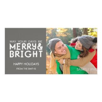 MERRY AND BRIGHT HAPPY HOLIDAYS PHOTO CARD GREY