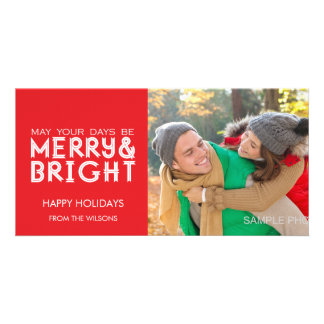 MERRY AND BRIGHT HAPPY HOLIDAYS PHOTO CARD RED