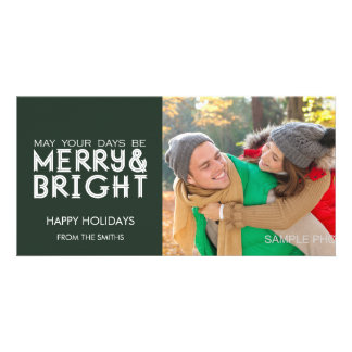 MERRY AND BRIGHT HAPPY HOLIDAYS PHOTO DARK GREEN PICTURE CARD