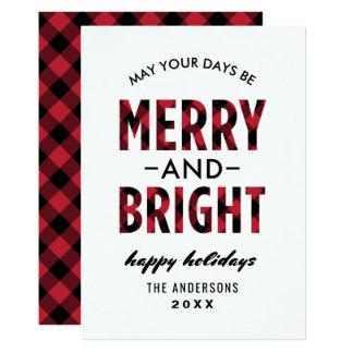 Merry and Bright | Holiday Buffalo Plaid Card