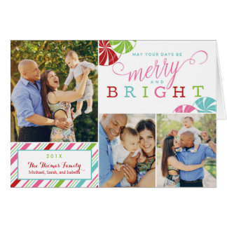 Merry and Bright Holiday Card with candy stripes