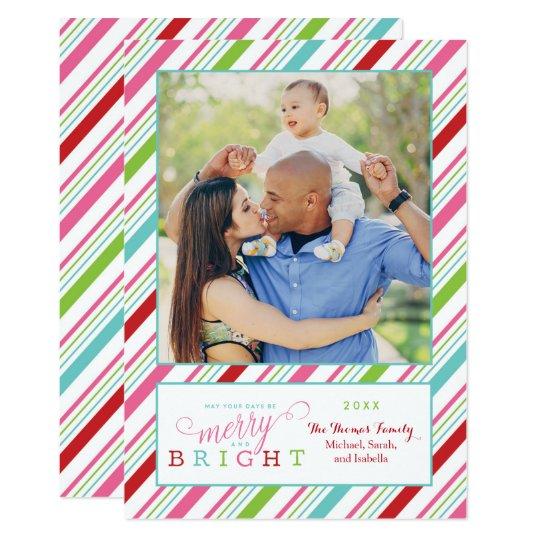 Merry and Bright Holiday Card with Stripes