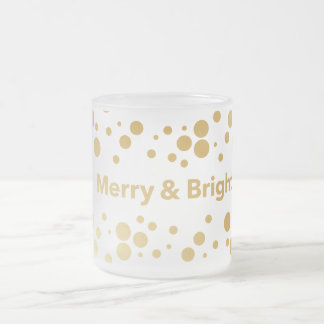 Merry and Bright Holiday Frosted Glass Coffee Mug