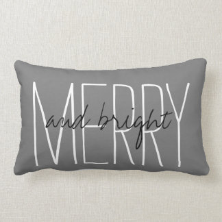 'Merry And Bright' Holiday Home Decor Throw Pillow