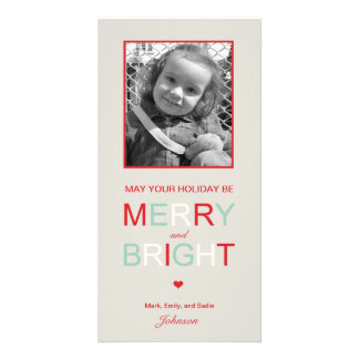 Merry and Bright Holiday Photo Card Personalized Photo Card