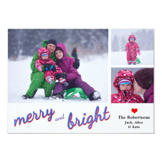 Merry and Bright Holiday Photo Card 13 Cm X 18 Cm Invitation Card