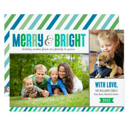 Merry and Bright Holiday Photo Card | Bold