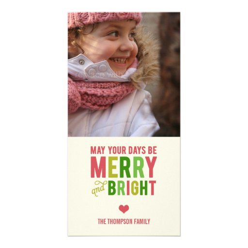 Merry and Bright Holiday Photo Card/Christmas Card Personalized Photo Card