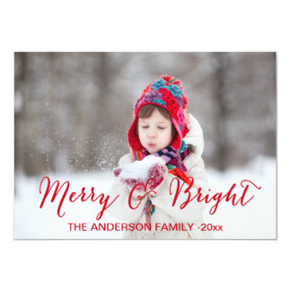 Merry and Bright Holiday Photo Card | Red