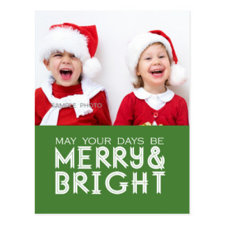 MERRY AND BRIGHT HOLIDAY PHOTO POSTCARD