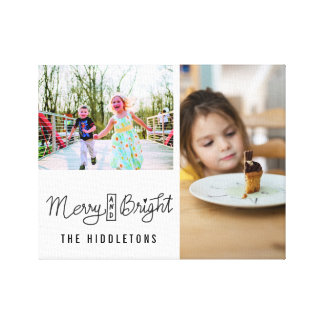 Merry And Bright Holiday Script Two Family Photos Canvas Print