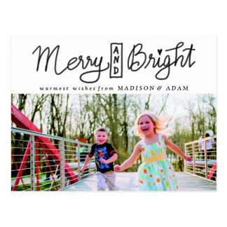 Merry And Bright Holiday Typography Photo Postcard