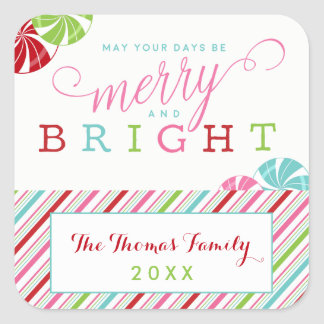 Merry and Bright Holiday with candies and stripes Square Sticker