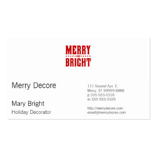 Merry and Bright Letterpress Style No. 507 Pack Of Standard Business Cards