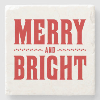 Merry and Bright Letterpress Style No. 507 Stone Coaster