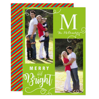 Merry and Bright Modern Christmas Photo Card