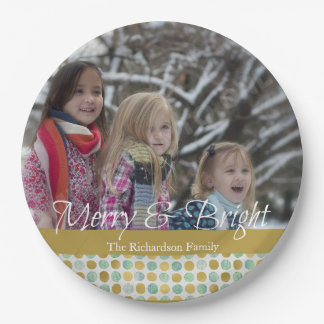 Merry and Bright Modern Dots Christmas Photo Paper Plate