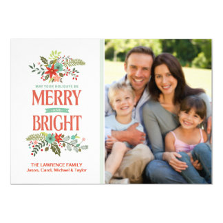 Merry and Bright Modern Floral Family Photo Card 11 Cm X 16 Cm Invitation Card