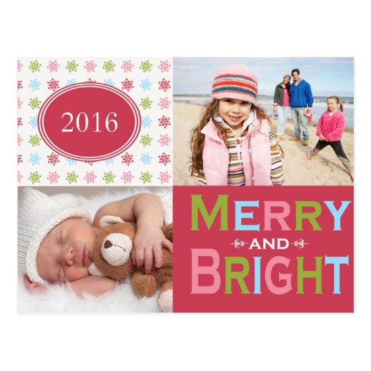Merry and Bright Multi Holiday Postcard