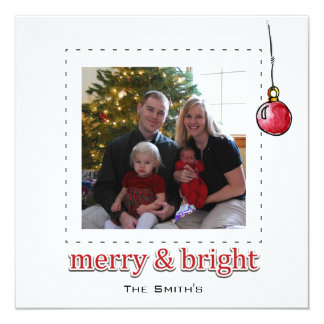 Merry and Bright personal photo card 13 Cm X 13 Cm Square Invitation Card
