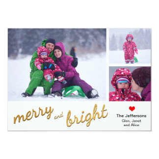 Merry and Bright Photo Card | Gold Snowflakes 13 Cm X 18 Cm Invitation Card
