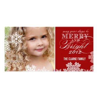 MERRY AND BRIGHT PHOTO CARD   RED