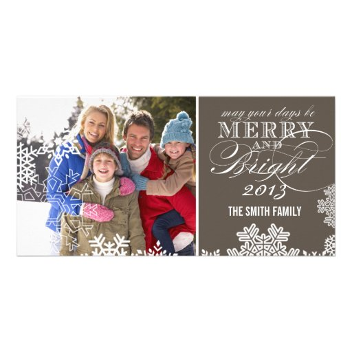 MERRY AND BRIGHT PHOTO CARD | TAUPE
