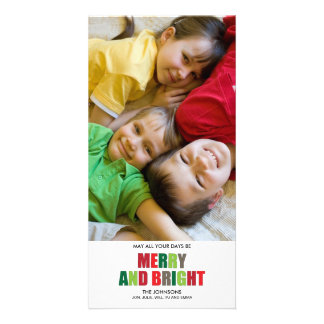 Merry and Bright Photo Christmas Card Photo Card