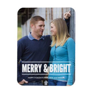 Merry and Bright Photo Christmas Holiday Wishes Magnets