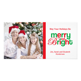 Merry And Bright Photo Personalized Photo Card