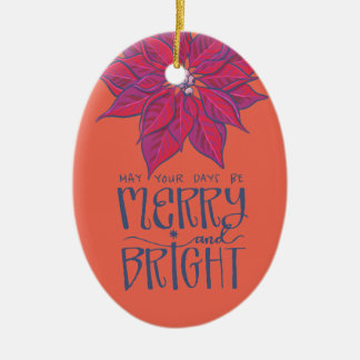 Merry and Bright Poinsettia Ornament