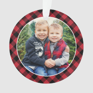 Merry and Bright | Red Buffalo Plaid  Photo Ornament