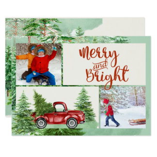 Merry and Bright Red Truck Christmas Photo Card