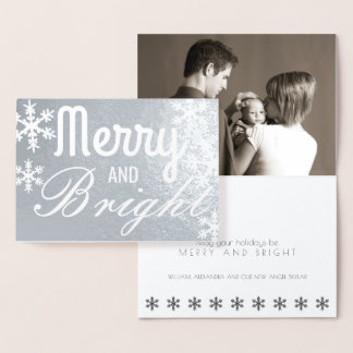 Merry And Bright Silver Snowflake Classic Photo Foil Card