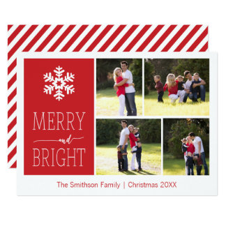 Merry and Bright Snowflake Christmas 4 Photo Card