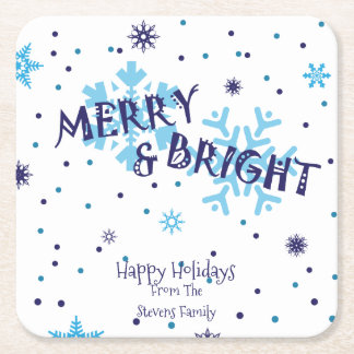 Merry and Bright, Snowflake Square Paper Coaster