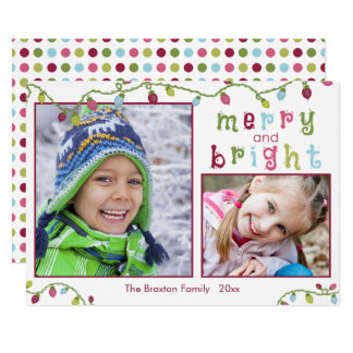 Merry and Bright, Two Photos, Pink Accent Card