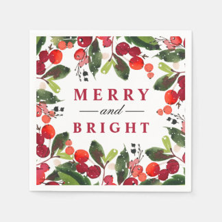 Merry and Bright | Watercolor Christmas Wreath Paper Napkins