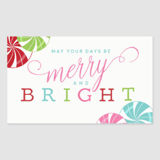 Merry and Bright with Colorful Candies Rectangular Sticker