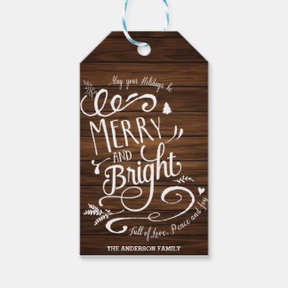 Merry and Bright wood gift tags