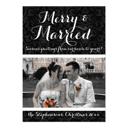 Merry and Married Black/White Damask Holiday Photo Invitation