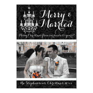 Merry and Married Chandelier Holiday Photo 13 Cm X 18 Cm Invitation Card