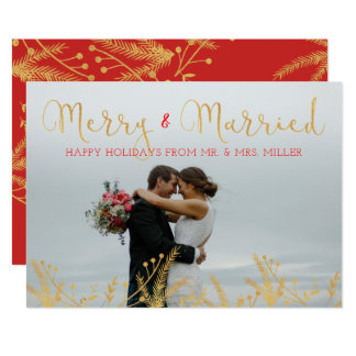 Merry and Married Gold Red Christmas Holiday Card