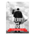 Merry and Married Modern Ribbon Holiday Photo Card Personalised Announcements