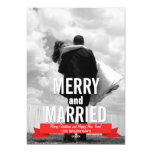 Merry and Married Modern Ribbon Holiday Photo Card 13 Cm X 18 Cm Invitation Card